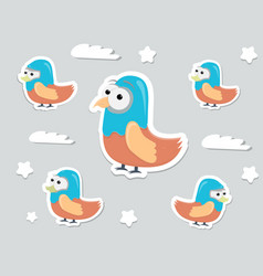funny cartoon character birds stickers vector image