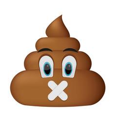 shit icon shut up faces poop emoticon vector image vector image