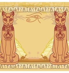 Stylized Egyptian cat abstract grunge card vector image vector image