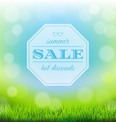 Summer Sale Banner With Green Grass vector image vector image