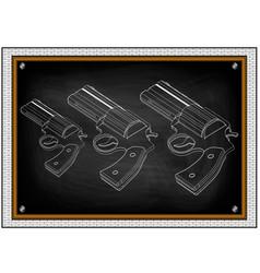 three white pistols on black vector image