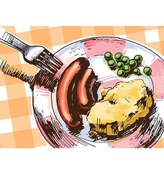 Two Sausages for a Lunch vector image vector image