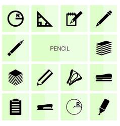 14 pencil icons vector image