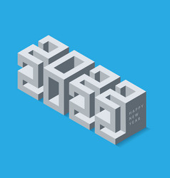 3d calendar 2022 date modern cubic lettering vector