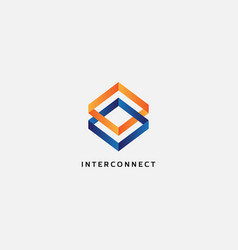 abstract interconnect square logo design template vector image