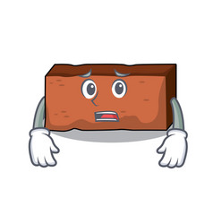 Afraid brick mascot cartoon style vector