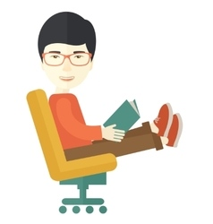 Asian Man sitting with a book vector