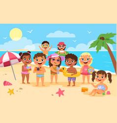beach kids happy children summer holidays cute vector image