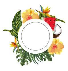 Beautiful tropical flowers cartoon vector
