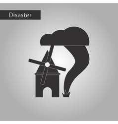 Black and white style icon tornado mill vector