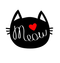 black cat head silhouette shape meow lettering vector image