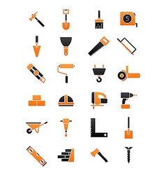 Black orange contruction icons set vector