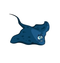 Blue spotted stingray cartoon character vector