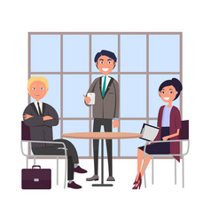 bosses at business meeting sitting at round table vector image