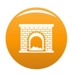 Brick fireplace icon orange vector