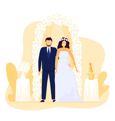 bride and groom at wedding ceremony happy vector image