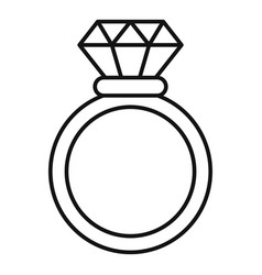 brilliant ring icon outline style vector image