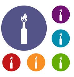 burning bottle icons set vector image