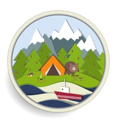 Camping and forest recreation badge vector image
