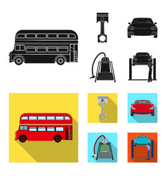 car on lift piston and pump black flat icons in vector image