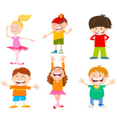 Cartoon cute children characters set vector