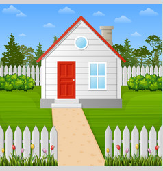cartoon wooden house inside the fence vector image