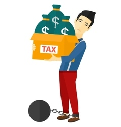 Chained man with bags full of taxes vector