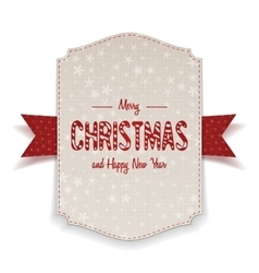 Christmas realistic white Banner with red Ribbon vector image