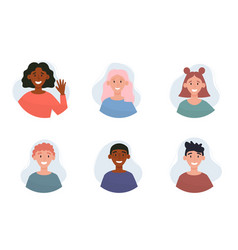 Collection different people portraits vector