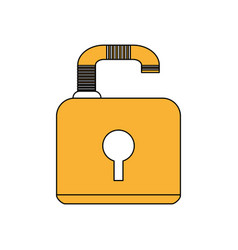 Color silhouette image padlock with body and vector