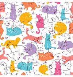 Colorful cats seamless pattern background vector