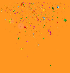 colorful confetti falling on orange background vector image