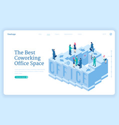 coworking office space isometric landing page vector image