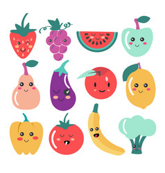 cute kawaii fruit and vegetable icons vector image