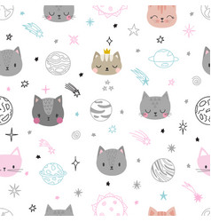 Cute space seamless pattern with cartoon cats vector