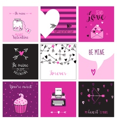 cute valentines day and love set - set cards vector image