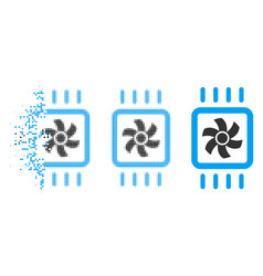 Decomposed dot halftone chip cooling icon vector