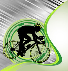 Design template with cyclist silhouette vector
