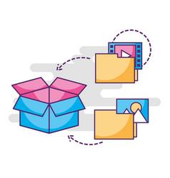 Digital folder files information storage box vector