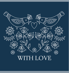 Ethno love decorative folk ornament print vector