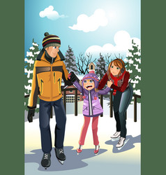 family ice skating vector image