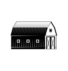Farm barn black and white silhouette isolated on vector