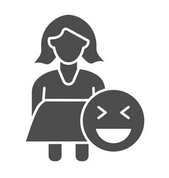 Fat woman and emoji solid icon obese girl vector