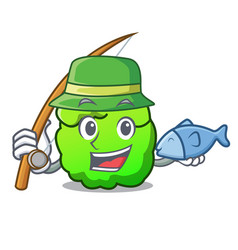 Fishing shrub mascot cartoon style vector