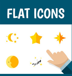 Flat icon bedtime set of night bedtime starlet vector