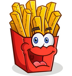 french fries cartoon character vector image