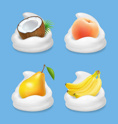 Fruit and yogurt banana pear peach and coconut vector