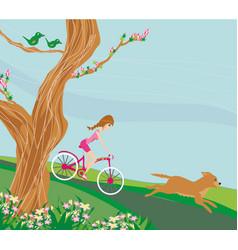 Girl is riding bike vector