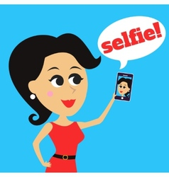 Girl makes selfie vector