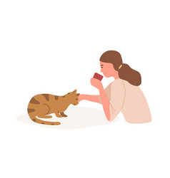 girl with cat flat animal vector image